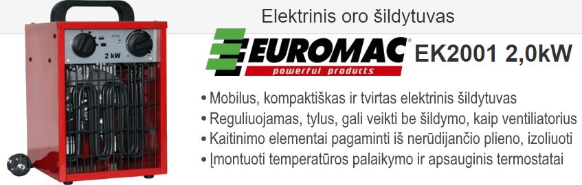 Elektrinis oro šildytuvas EUROMAC EK2001 2.0 kW