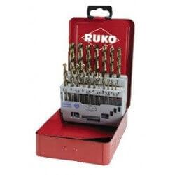 Metalo gražtų rinkinys HSS-G Co5 1-10mm (19 dal.) RUKO