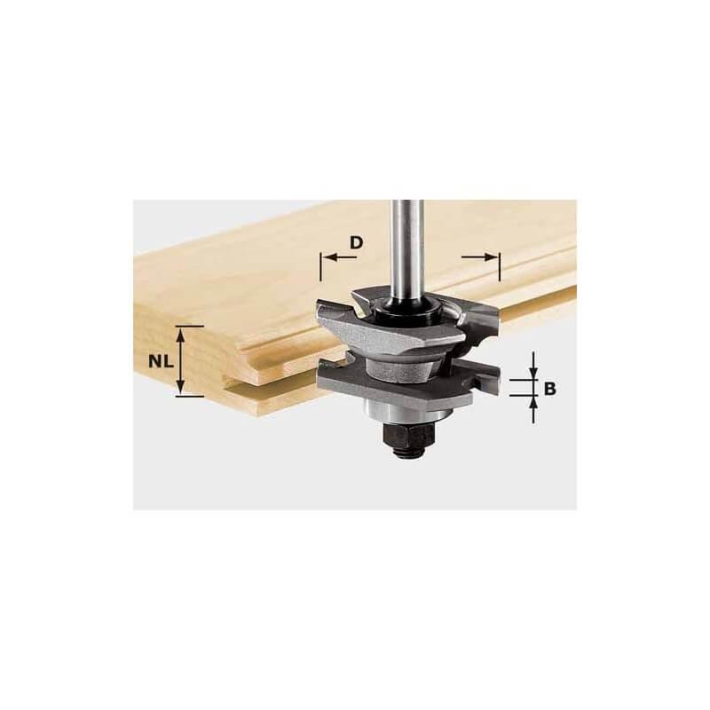 Profilinė-griovelių freza FESTOOL HW HW S8 D46 x D12-NT su 8 mm kotu