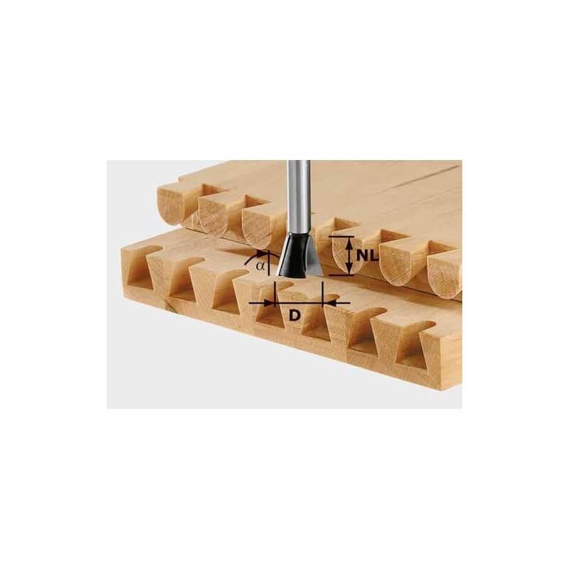 Freza kregždės uodegos sujungimams FESTOOL HS S8 D14,3/13,5/15° kotelis 8 mm