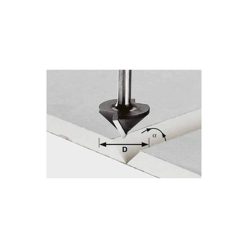 Freza grioveliams V formos FESTOOL HW S8 D12.5/45° kotelis 8mm