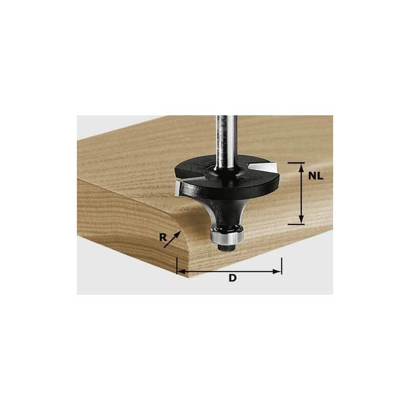 Apvalinimo freza FESTOOL HW S8 D28.7/R8 KL, kotelis 8 mm