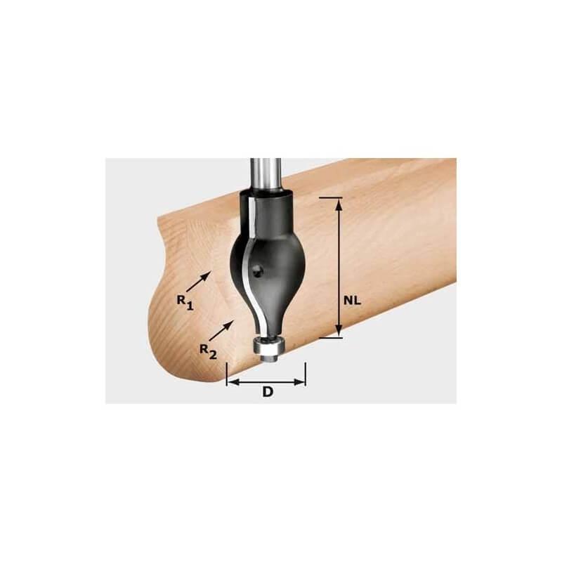 Profilinė freza FESTOOL HW R20.5/16/D32/57 S12, kotelis 12 mm