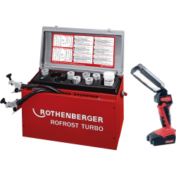 """Vamzdžių šaldymo įrenginys ROTHENBERGER Rofrost 1.1/4"""" su akumuliatorinius LED prožektoriumi"""