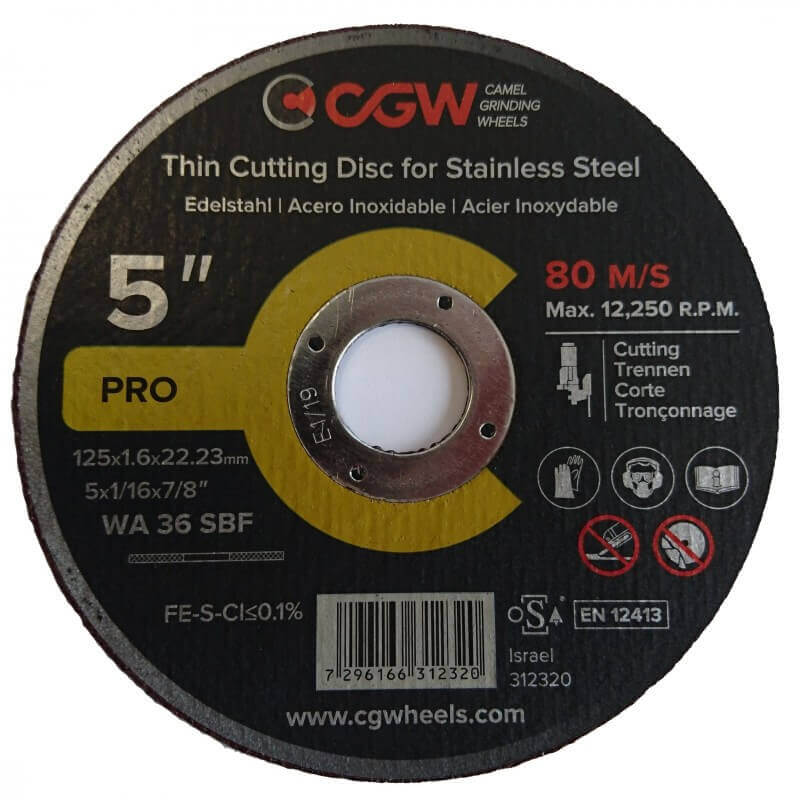 Pjovimo diskas CGW T-1 125*1.6 WA36 SBF INOX