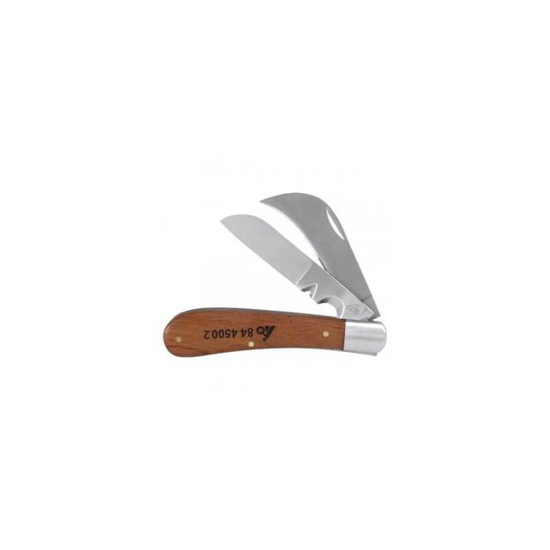 Sulenkiamas dviejų geležčių peilis medine rankena HOLEX