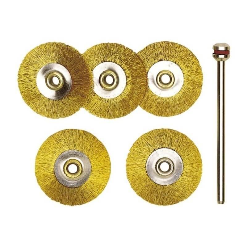 Žalvariniai šepetėliai Ø22mm(5vnt.) PROXXON