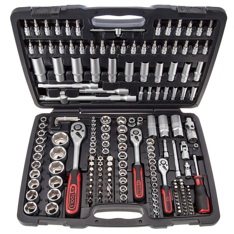 """Terkšlių ir galvučių rinkinys 1/4""""-3/8""""-1/2"""" KS Tools, 179-ių dalių"""