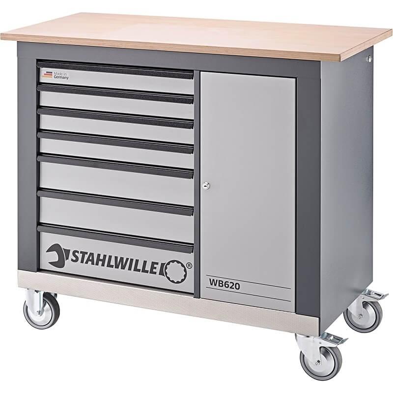 Darbastalis su ratukais ir mediniu stalviršiu STAHLWILLE WB 620