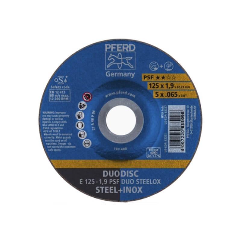 Pjovimo ir šlifavimo diskas PFERD E125-1,9 A46 P PSF DUO Steelox