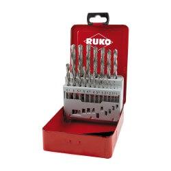 Kairinių metalo grąžtų rinkinys RUKO HSS-G 19-kos dal.