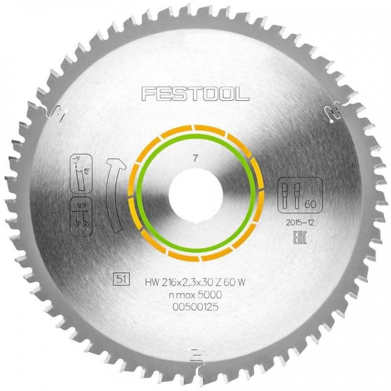 Smulkių dantukų pjūklo diskas FESTOOL 216x2,3x30 W60