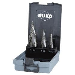 3 pakopinių grąžtų rinkinys RUKO HSS Quick cut Ø4-30mm
