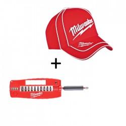 Sukimo antgalių rinkinys MILWAUKEE SHW CD 12 dalių su kepurėle