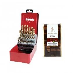 25 dalių metalo grąžtų rinkinys RUKO TiN HSS + dovana