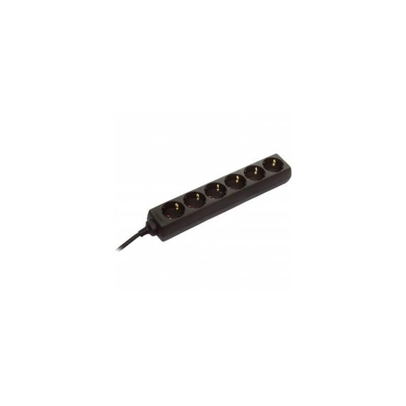 6 lizdų juodas ilgiklis 1,4m., H05VV-F 3G1,5 AS-SCHWABE