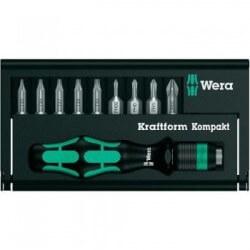 9 atsuktuvų antgalių ir rankenos rinkinys WERA Kraftform Kompakt 11 Plus Philips-PH/TORX