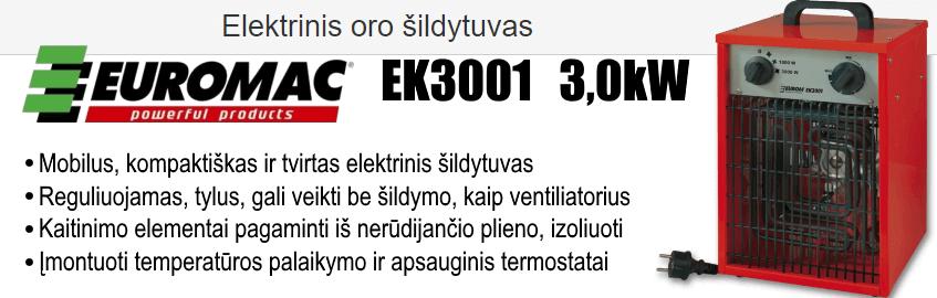 Elektrinis oro šildytuvas EUROMAC EK3001 3.0 kW