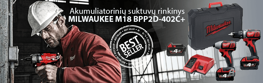 Akumuliatorinių suktuvų rinkinys MILWAUKEE M18 BPP2D-402C+