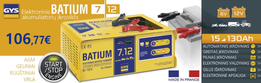 Elektroninis automatinis akumuliatorių įkroviklis GYS Batium 7.12