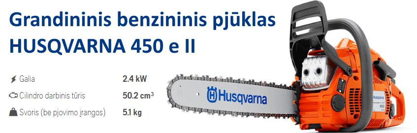 Grandininis benzininis pjūklas HUSQVARNA 450 e II