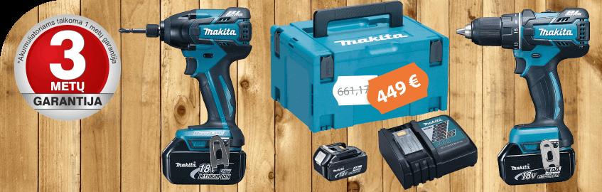 Akumuliatorinių įrankių rinkinys MAKITA DLX2000MJ su 3 akumuliatoriais - AKCIJA !